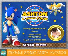 SONIC THE HEDGEHOG / Printable Invitation with photo on Etsy, $10.00