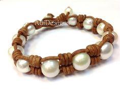 VENTA pulsera de perlas y cuero Chinda por AdiDesigns en Etsy
