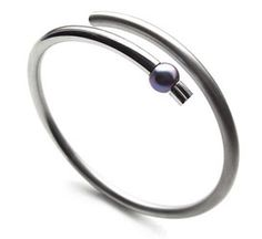 Bangles - Stainless Steel with Black Pearl & Stainless Steel with 14kt Gold - brushed and high polished finish