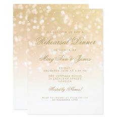 Rehearsal Dinner Gold Bokeh Sparkle Lights Card