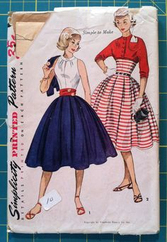 Vintage 1950s Sewing Pattern Simplicity 3863 Blouse Skirt & Jacket 32 Bust. Mad Men Retro Rockabilly Teen Young Womens Fashion $14.00, via Etsy.