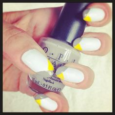 D.I.Y. yellow and grey crossed tips nails, more infos and video tutorial on my blog here: http://giugizu.blogspot.it/2013/11/diy-yellow-and-grey-crossed-tips-nails.html