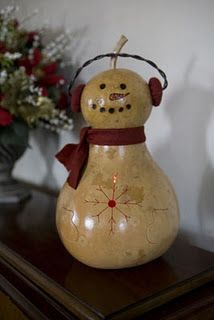 Cute snowman decoration made from a gourd