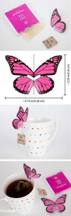 DIY paper butterfly tea bag holder? This would be perfect for a gift idea for mothers day, a tea party, bridal shower or butterfly party