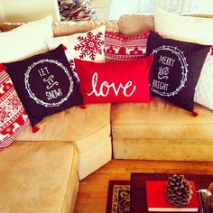 These festive pillows brighten up any room.