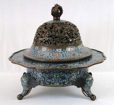 """BEST! LARGE Antique 17C. Chinese Bronze Cloisonne Dragon & Phoenix Censer  BKCranston """"Fall Into Antiques"""" Asian Auction ~ No Res!"""
