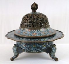 "BEST! LARGE Antique 17C. Chinese Bronze Cloisonne Dragon & Phoenix Censer  BKCranston ""Fall Into Antiques"" Asian Auction ~ No Res!"