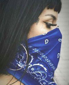 Bad Girl Aesthetic, Blue Aesthetic, Chica Chola, Bandana Girl, Chola Girl, Estilo Cholo, Chola Style, Women's Bandanas, Cute White Guys