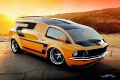 "Just a car guy: Concept Mustang Van. wants to know, ""Is this a photoshopped Mustang w/ a fantasized van on top? Vw T1 Camper, Design Autos, Weird Cars, Unique Cars, Custom Vans, Cool Trucks, Rat Rods, Amazing Cars, Awesome"