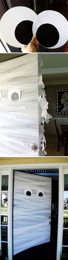 Fun, cheap halloween decor. Wrap front door with material, add poster board eyes, and you have a giant monster!