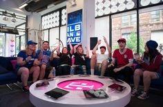 Chicago White Sox Cave Crasher Lisa Loher and her guest Patricia Loher hang out with the MLB Fan Cave Dwellers during a visit to the MLB Fan Cave Tuesday, September 3, 2013, at Broadway and 4th Street in New York City. (Photo by Thomas Levinson/MLB Photos via Getty Images)
