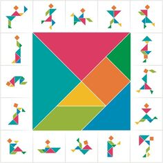 Set of cards for kids board game. Silhouettes of men, women and children made of seven pieces - geometric shapes: triangles, square, parallelogram. Toddler Activities, Learning Activities, Tangram Puzzles, Board Games For Kids, Math Games, Pattern Blocks, Kids Education, Kids Cards, Geometric Shapes