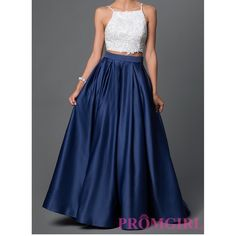2 Piece Navy Blue and White Prom Dress Will be available AFTER May 20. Gorgeous two piece prom dress. It's Dave and Johnny style 1435. Size is 1/2. Measurements from the website: bust 32, waist 27, hips 37. It fits me perfectly and my waist is 26 and hips are 35 FYI. Ball gown skirt and beaded top. This is my favorite prom dress ever, it's absolutely gorgeous. I did have it altered to fit me: I'm 5'3 and wearing 4 inch heels so it will fit someone up to 5'7. I will add more pictures after my…