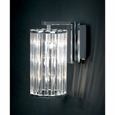 Endon Circular Wall Light in Polished Chrome with Clear Crystal Rods