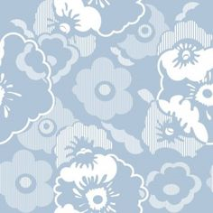 Alice  (AZDPT011 Powder) - Mini Moderns Wallpapers - A retro wallpaper featuring a large scale floral pattern. Shown here in powder blue. Other colourways are available. Please request a sample for a true colour match. $82