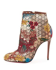 X3KKB Christian Louboutin Miss Tennis Embroidered Lace Red Sole Bootie, Brown