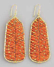 Nakamol Beaded Tribal Earrings, Orange (Stylist Pick!)