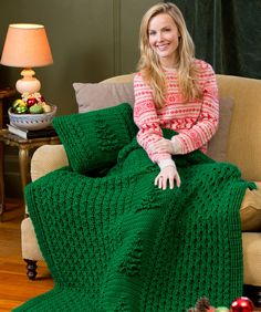 Yule Tree Throw & Pillow Free Crochet Pattern from Red Heart Yarns