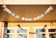 Toy Story birthday party - slinky dog banner