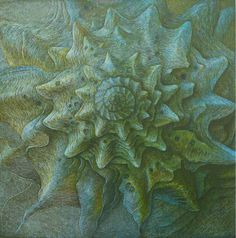 ✨  Olaf Hoppe - Atlantis 2 Grün, 2014, Farb-Holzschnitt von 8 Holzstöcken, Auflage 200 Exemplare auf Büttenpapier, 37x37 cm ::: Atlantis 1 Green, Colour Woodcut