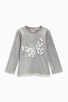 Buy Grey Embellished Dragonfly Top online today at Next: United States of America Kids Outfits Girls, Shirts For Girls, Trendy Outfits, Girl Outfits, Kids Dress Patterns, Clothing Patterns, Baby Girl Fashion, Kids Fashion, Girl Trends