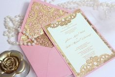 I love the pink and gold invitation <3 <3 muy hermosa!!