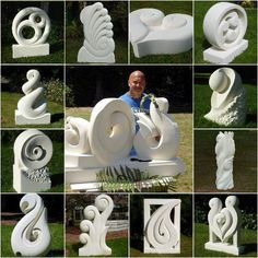 Brett Tutauanui Keno Sculpture..Stone sculpture. The abstracted stylised carvings seem to reflect his Kiwi heritage.