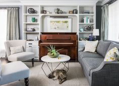 piano ideas family room transitional with piano contemporary standard bookcases – Living Room 2020 Small Living Room Layout, Living Room Furniture Layout, Living Room Designs, Piano Living Rooms, My Living Room, Large Bookcase, Bookshelves Built In, Study Room Design, Family Room Design