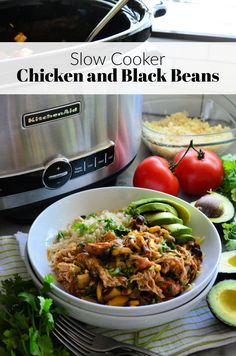 Learn how to make this easy weeknight dinner of Chicken and Black Beans in the Crock Pot; toss everything in the slow cooker and let it cook for hours! Slow Cooker Recipes, Crockpot Recipes, Chicken Recipes, Easy Weeknight Meals, Easy Dinners, Delicious Dinner Recipes, Yummy Recipes, Slow Cooker Chicken, Everyday Food
