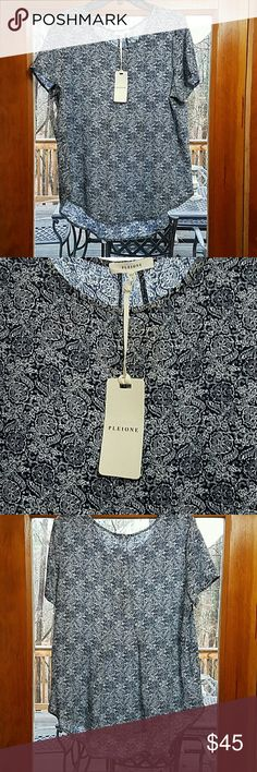 NWT PLEIONE BLOUSE NWT PLEIONE BLOUSE Navy and white floral style print  Pleate at back Purchased at Nordstrom Pleione Tops Blouses