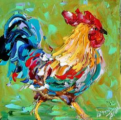 Original oil painting ROOSTER PALETTE KNIFE by Karensfineart
