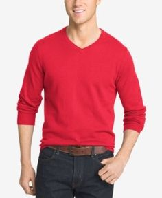 Izod Men's Big and Tall V-Neck Sweater - Red 2XLT