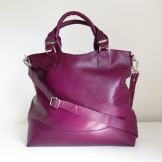 Purple Leather Tote, Leather Purse, Purple leather Handbag, Leather... ($160) ❤ liked on Polyvore featuring bags, handbags and tote bags
