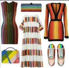 Полоски  Всегда в моде, но теперь особенно агрессивно. Горизонтальные и вертикальные одновременно, широкие и узкие, суперъярких цветов.