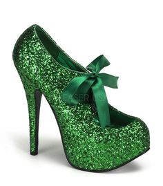 """Teeze-10G pump in green glitter has a 1 3/4"""" concealed platform. With a 5 3/4"""" heel and a green ribbon tie at the top of shoe. Bordello Shoes offers a large selection of sleek to shiny patents, satin,"""