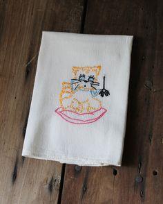 Embroidered Cat Towel Vintage Spider Halloween Kitchen Dish Hand Tea Guest Towel Home Decor. $10.00, via Etsy.