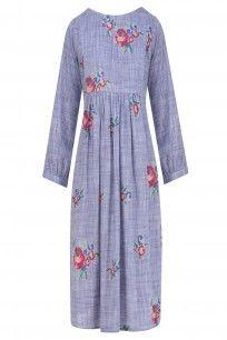 Blue Rose Bouquet Embroidered Crete Dress   #Blue #floral #Summervibes…