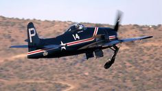 """The late, great Howard Pardue & his beautiful Grumman F8F-1 Bearcat~ #14-""""Miss Kimberly Brooke"""" (NL14HP) lift-off for a late afternoon test flight fm Stead Field, NV. """"Blue Skies & Tailwinds Forever~HP~Semper Fi!"""" (Copyright 2009-Don 'Bucky' Dawson)"""