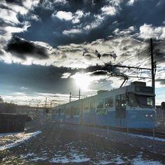 Tram in the sunshine #Gothenburg #Goteborg #Sweden #Sverige #tram #train #sun #travel #clouds #streetview #city