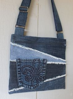 Denim Cross Body with Frayed Denim Patchwork, Jean Front Pocket, Large Front Zipper Pocket, Adjustable Strap with Muted Blue Cotton Lining by AllintheJeans on Etsy