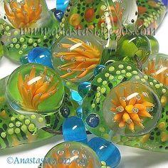 "ANASTASIA--lampwork beads--(7)--""SUMMER GARDEN""--SRA"