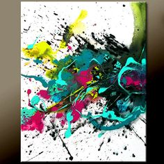IMPLODE - New Abstract Canvas Art Painting 16x20 Contemporary  wostudios, $69.00