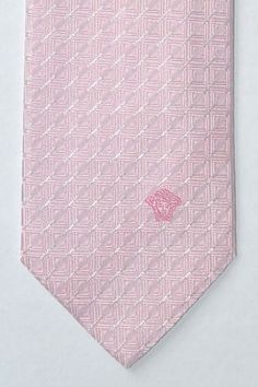 Pink Versace tie with slight tonal geometric design and Medusa on bottom blade of tie, genuine Versace tie at $145 Now $105 Pink Ties, Mens Attire, Father Of The Bride, Wedding Men, Medusa, My Favorite Color, Wedding Details, Blade