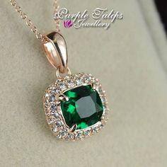 18CT Rose Gold Plated Emerald Princess Cut Swarovski Created Diamond Necklace