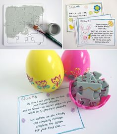 Easter Egg Hunt with clue cards and puzzle pieces
