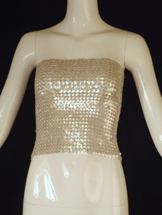 1970s White Sequin Knit Tube Top, Size-4
