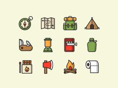 A set of coloured and lined vector camping icons in both illustrator and sketch formats; free to download. Item was designed bySalinee Pimpakun; an icon and ui designer; make sure you check her other work.