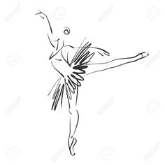 Art Sketched Beautiful Young Ballerina In Ballet Pose Stock Photo ...