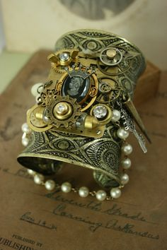 Steampunk jewelry Steam punk cuff bracelet by fondobjects