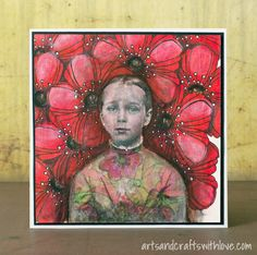 Mixed media card: Girl with red flowers. For February MMCC challenge